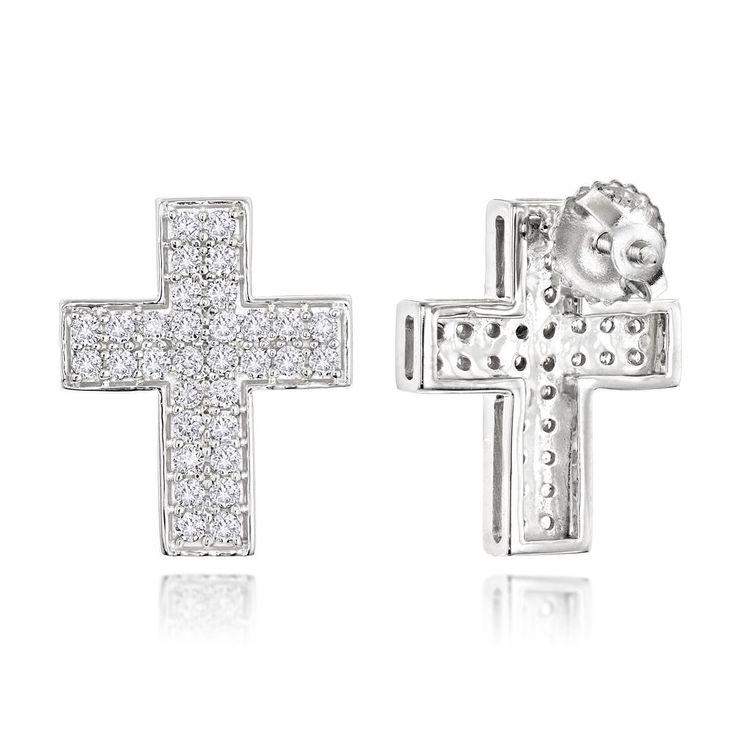Luxurman 14k Gold 1/2ct TDW Diamond Cross Earrings