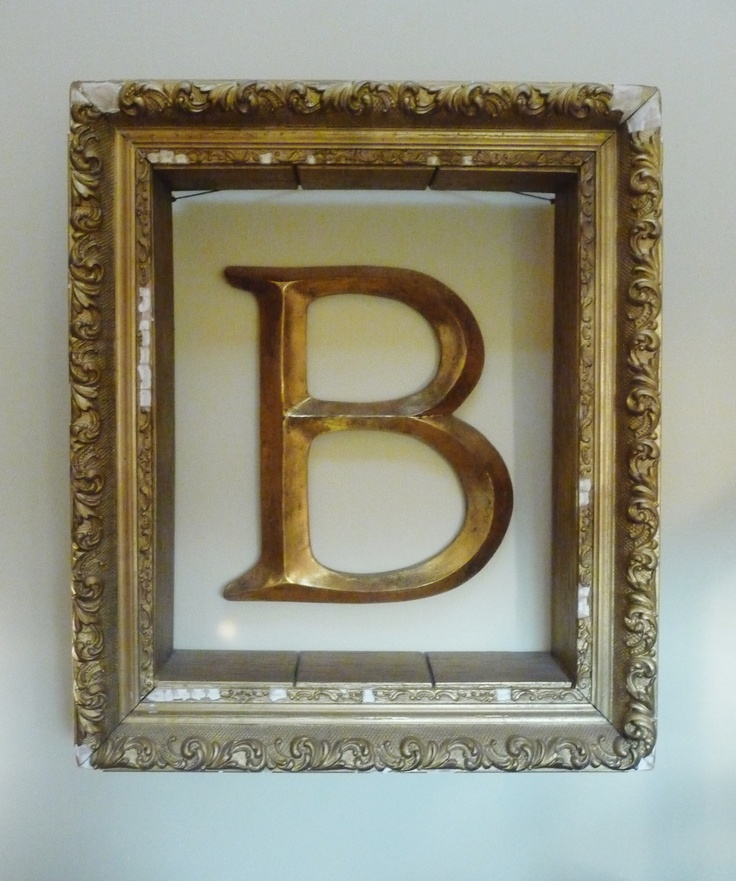 hang letter monogram on wall inside empty picture frame pick up letter from hobby lobby or. Black Bedroom Furniture Sets. Home Design Ideas