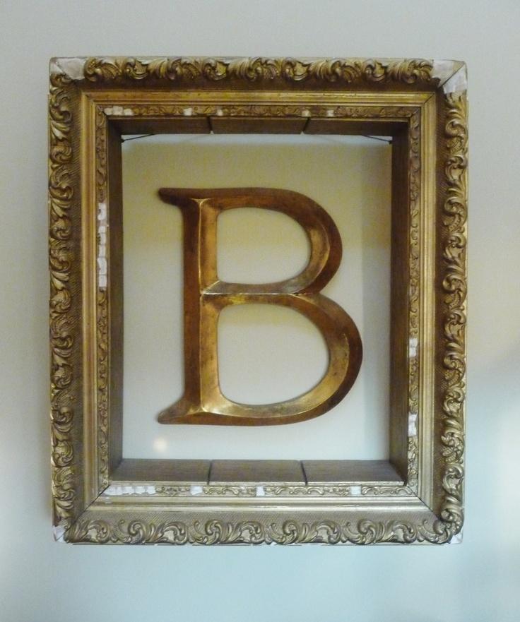 hang letter monogram on wall inside empty picture frame With frame with letter inside