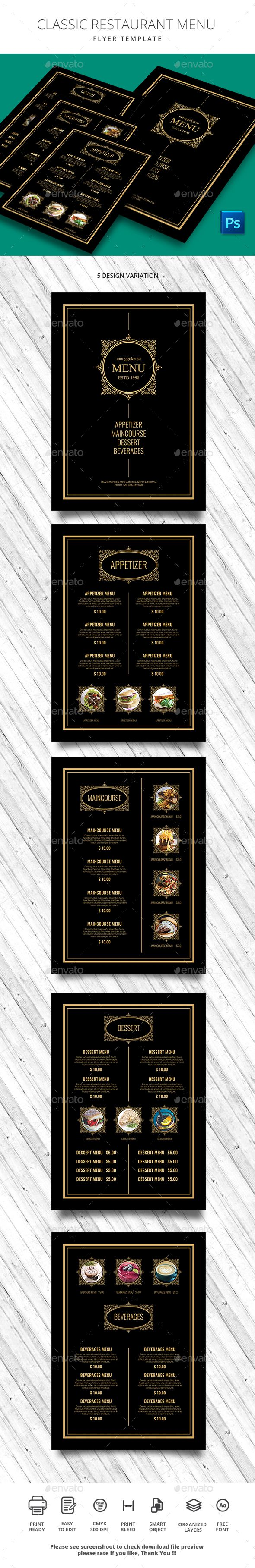 Classic Restaurant Menu - #Food Menus Print Templates