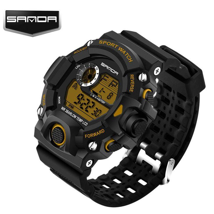 """Лучший продукт из Китая - купить """"новый бренд САНДА часы мужчины Военно-спортивный часы моды силиконовый Водонепроницаемый светодиодный цифровой часы для мужчины часы цифровые часы 2016"""" всего за 10.36 долл."""