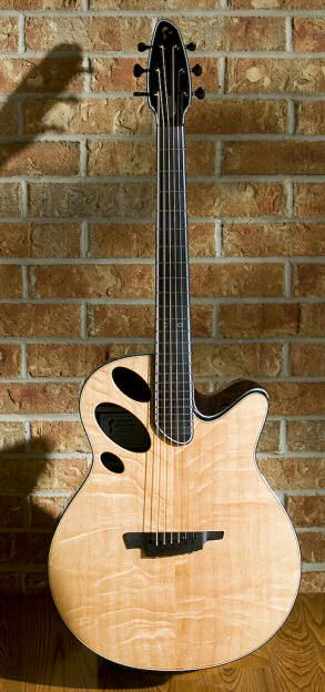 Interesting soundhole configuration, and I love the fingerboard, too.     Acoustic guitar, model Oracle, by luthier Sheldon Schwartz.