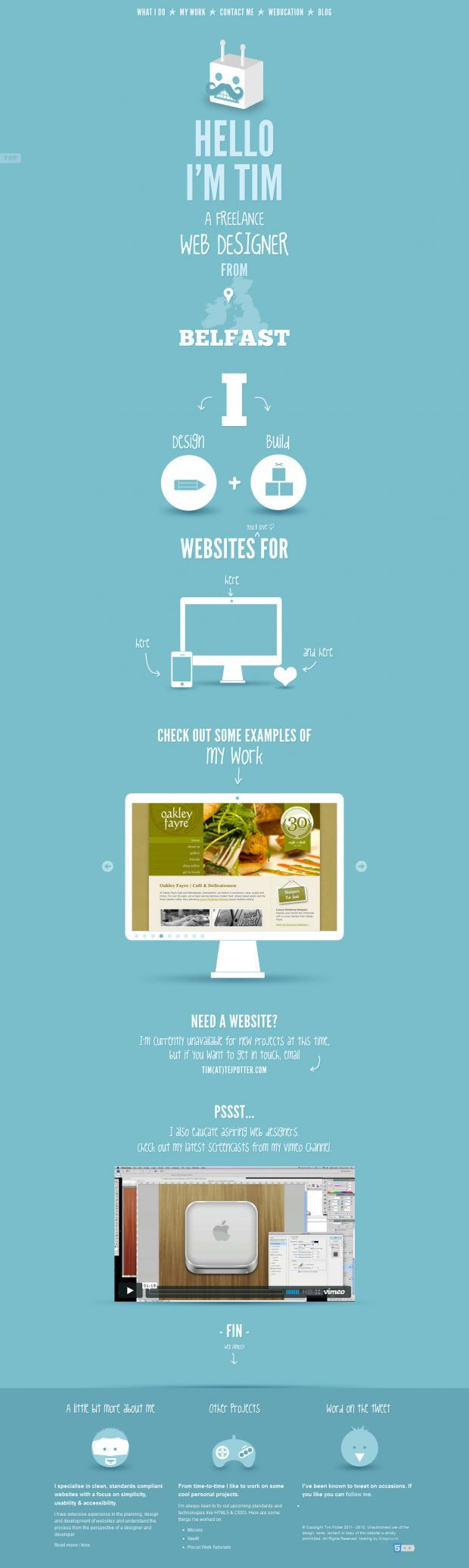 Portfolio of Tim Potter - Belfast Freelance Web Designer - Best website, web design inspiration showcase