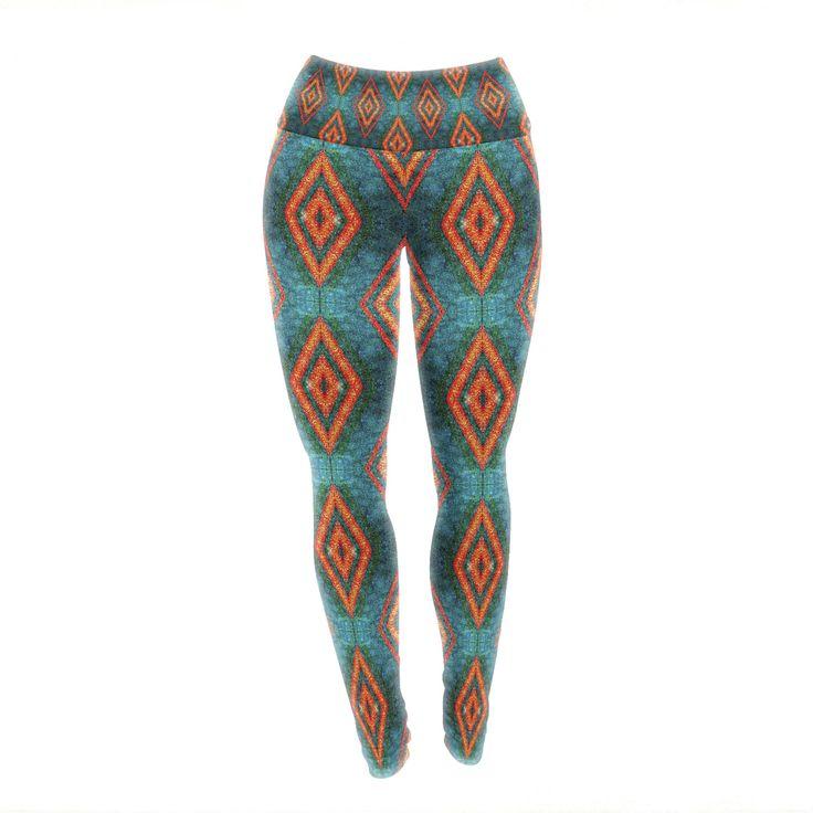 "Anne LaBrie ""Diamond Sea"" Blue Orange Yoga Leggings from KESS InHouse"