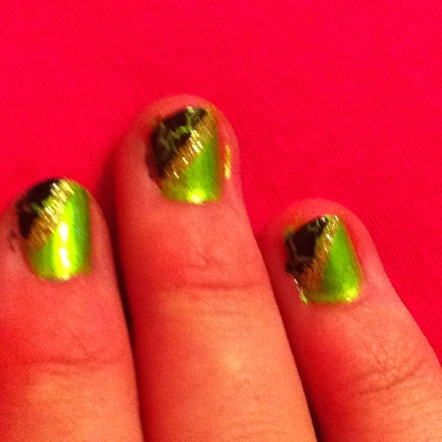 Lime green with crackles , and sparkles