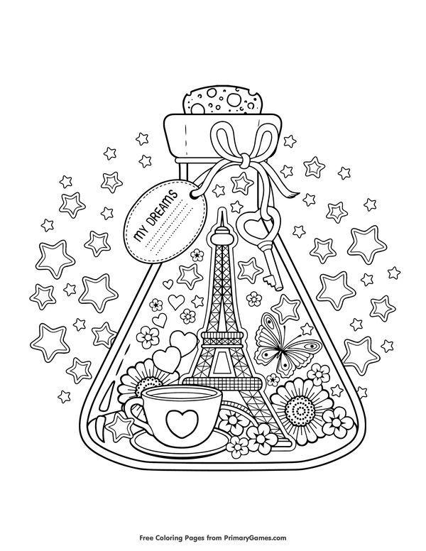 Paris City of Love Coloring Page • FREE Printable eBook