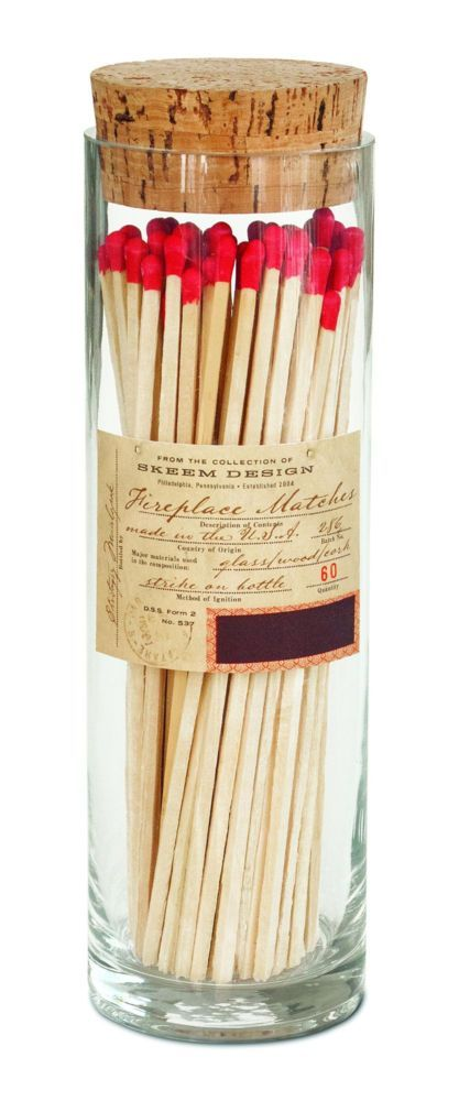 "This apothecary-style fireplace match bottles stores 60 8"" matches. $21.99"