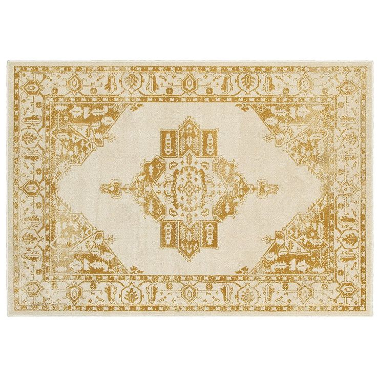 StyleHaven Juliet Two-Tone Traditional Framed Medallion Rug, Gold