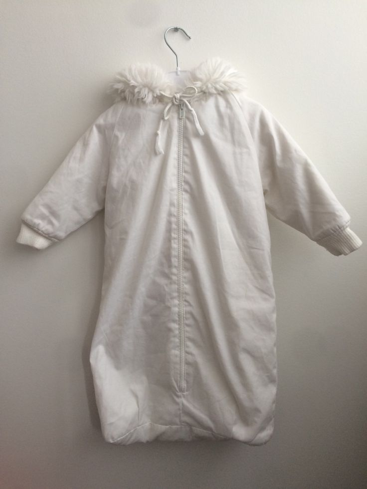 Nordic Vintage Baby Sleeping Bag with a Faux Fur Hoodie, Scandinavian Retro Baby's White Stroller Driving Suit with Sleeves and Zipper by ElleBelleVin on Etsy