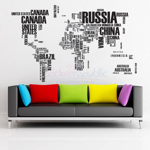Stunning World Map Wall Art Sticker