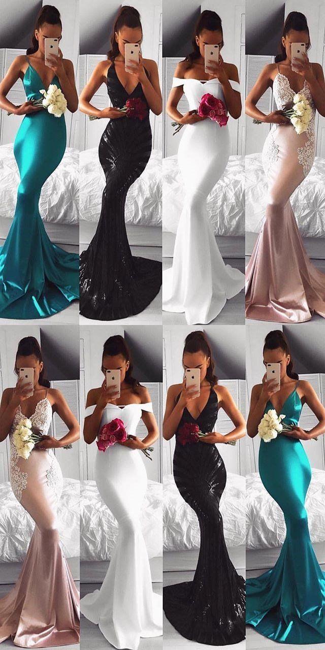 Long sleeves deep vneck charmisng modest unique prom dresses
