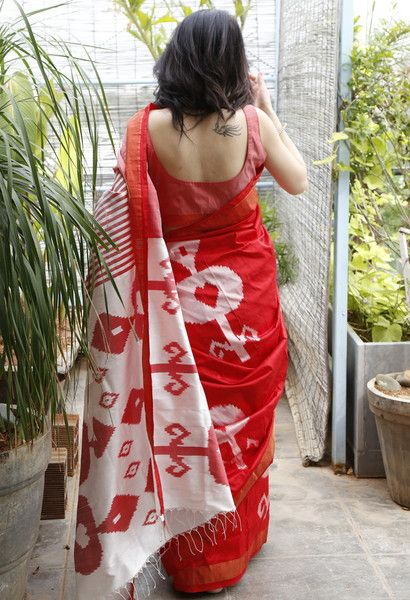 Red abstract pattern saree in pure silk fabric. With attached blouse. 100% handwoven ikat with AZO-FREE dyes. Prices exclusive of tax and shipping. Wash separat