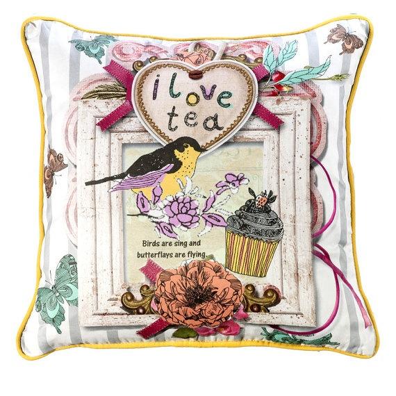 Apolena I Love Tea Pillow    pillow decorative pillow by CLASSICC, $34.00