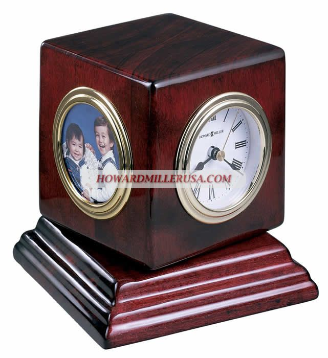 Rosewood Turning Cube Portrait Desktop Clock | 645408 Howard Miller