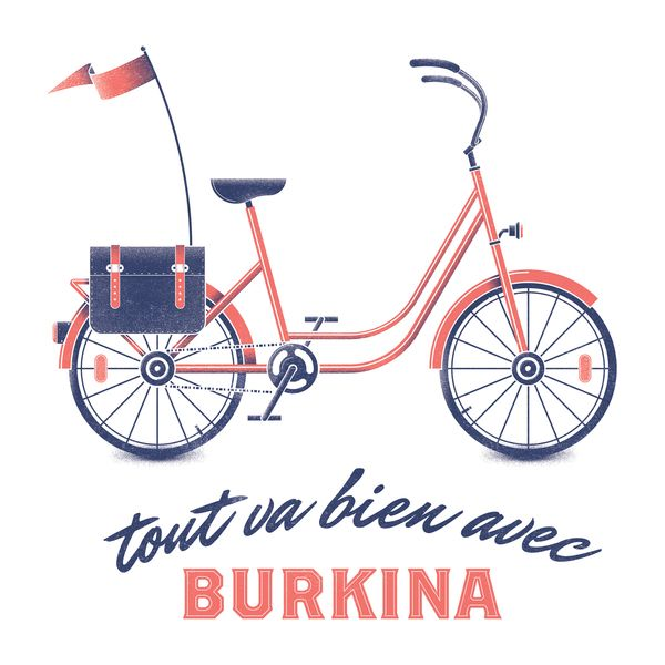 Tout va bien avec Burkina by Francisco Andriani, via Behance // French bike bicycle illustration and lettering with typography
