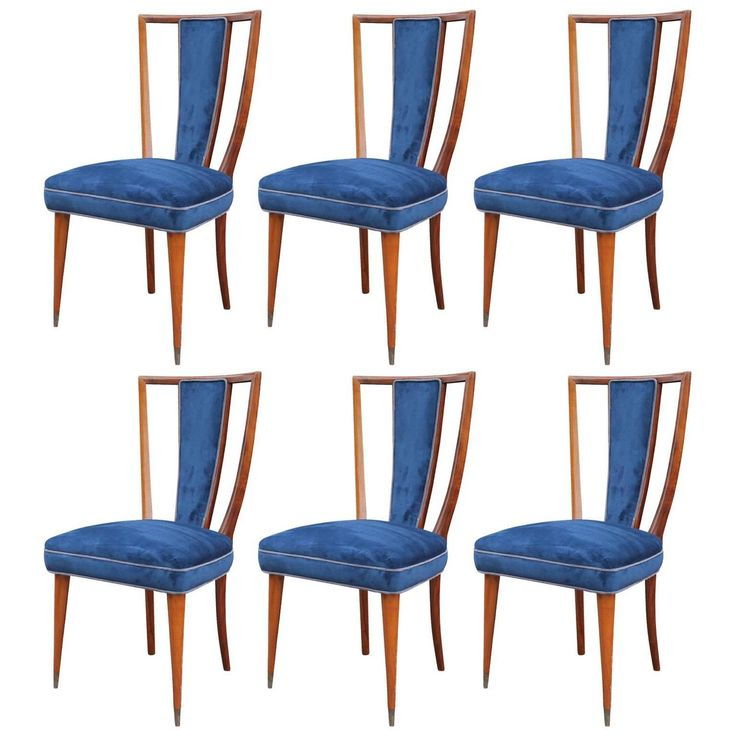 Wonderful Set Of Six Sculptural High Back Dining Chairs