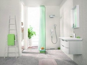 radiator scaletta by tubes in the bathroom setting by hansgrohe taps by hansgrohe washbasin by duravit mirror by kartell and towels by mve frottana - Hansgrohe Wasserfall Dusche