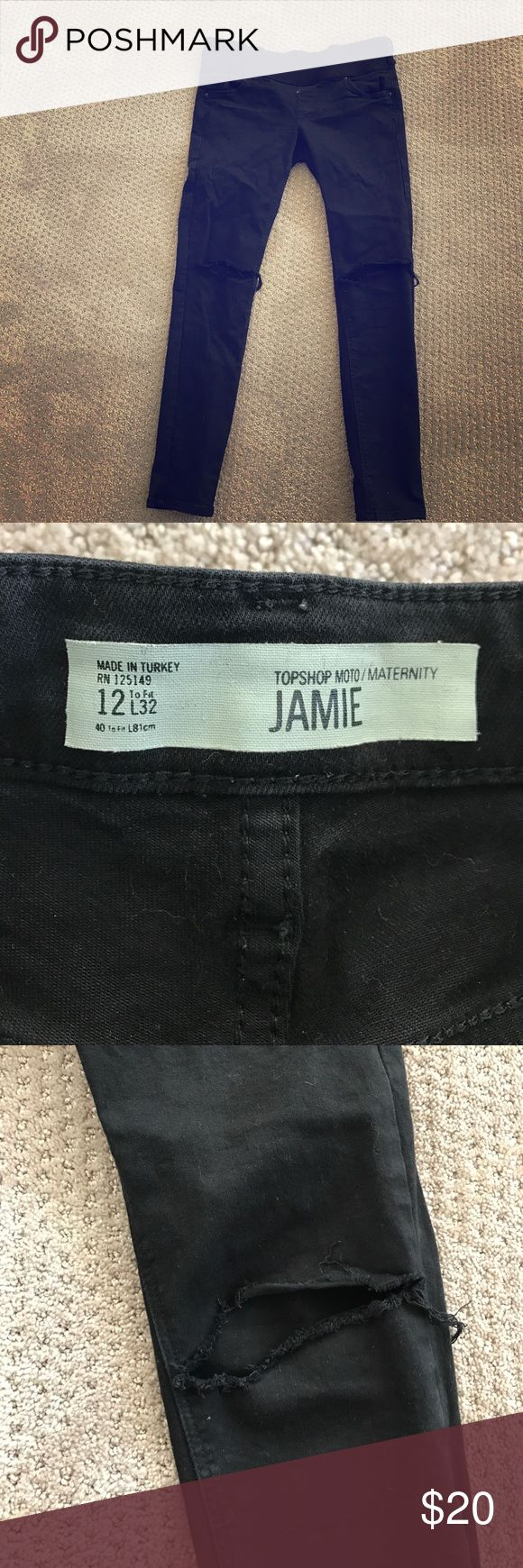 TopShop Maternity Jeans Black TopShop black maternity jeans with soft stretchy waistband. Ripped knees. Jamie style. Size 12 but run large. I would say these would fit an 8-10. Topshop MATERNITY Jeans Skinny