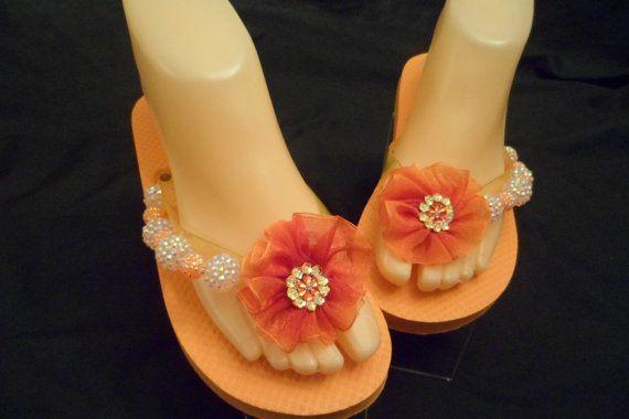 Ladies XSmall Orange Flip Flops Size 4-5 by DorethaRoseDesigns