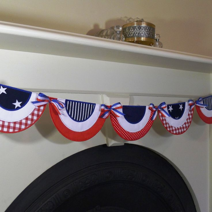 "Patriotic Bunting In The Hoop Banner Machine Embroidery Design Applique Patterns done In-The-Hoop 6 sizes 5"", 6"", 7"", 8"", 9"" and 10"" by BigDreamsEmbroidery on Etsy https://www.etsy.com/listing/93492348/patriotic-bunting-in-the-hoop-banner"