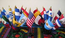 Hispanic Flag Set - Two- Round 10 hole Stands and One 1 hole stand .. OM