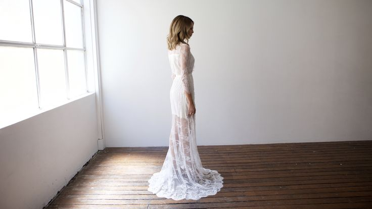 Pretty white long lace bridal robe brides, bridesmaids or engagement parties. Designed by Bronte & Clyde - repin on your inspo board now!