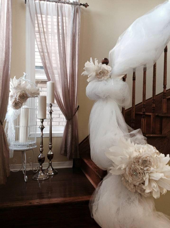 Gorgeous bridal railing decor by Timeless Creative Decor