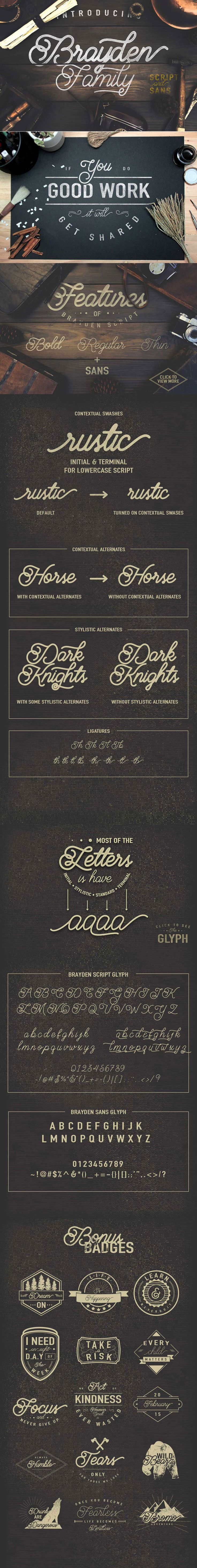 Brayden - a new vintage-style script font.