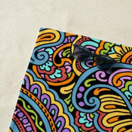 Colorful Hand Drawn Paisley Floral Motif Beach Towel - #beach #beachtowel #towel #paisley #colorful #bold #stylish