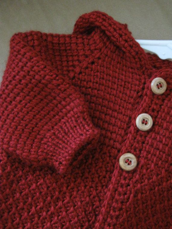 Autum Red Crochet Baby Boy Sweater with Hood. by ForBabyCreations