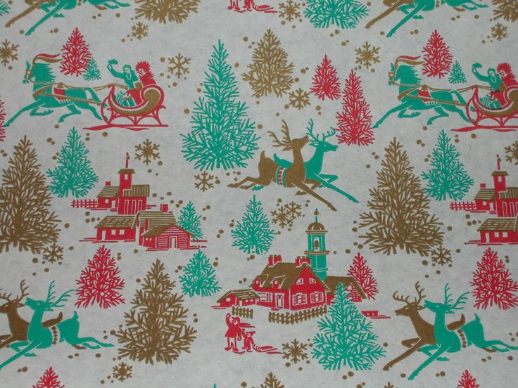 VTG CHRISTMAS STORE WRAPPING PAPER GIFT WRAP REINDEER AQUA GOLD TEAL RETRO COOL