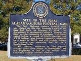 Site of the first Univ. of Alabama vs. Auburn Univ.  football game. (blood still on the ground). - Fairhope Supply Co.