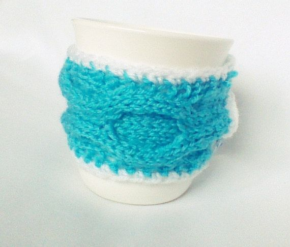 Turquoise cable mug cozy tea mug cozy cable cup by HandmadeTrend, $13.00