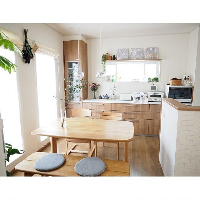 a_tankoさんの、Kitchen,観葉植物,ファブリックパネル,マリメッコ,北欧,ドライフラワー,セラミカ 食器,シンプルナチュラル,カウニステ,アラジントースター,飛騨の家具,Panasonicキッチンについての部屋写真