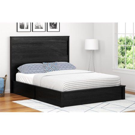 Ameriwood Home Crescent Point Bed And Headboard Multiple Sizes And Colors Black Black Headboard Bed Frame Headboard Bed