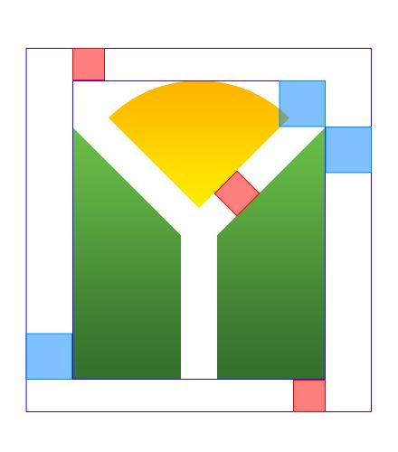 Part 5: This image represents the padding which the shape should have.  The blue, which represents the horizontal padding, should be the vertical distance from the top of the green shape to the top of the gold shape.  The red, which represents vertical padding, is the distance between the green and gold shapes.  This amount of padding should also be used with the final version of the logo including text.