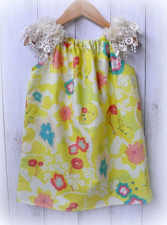 Cotton and Lace Girls Dress yellow floral by LittleMacsClothing, $35.00
