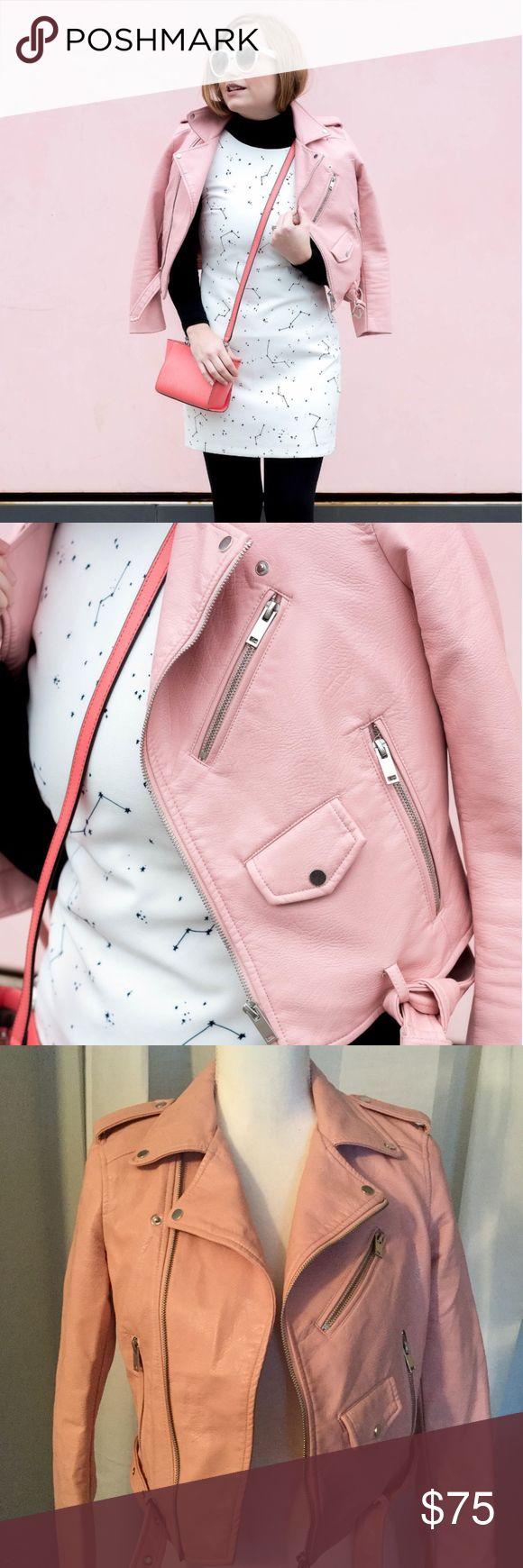 Zara Outerwear Faux Vegan Leather Pink Moto Jacket Pink