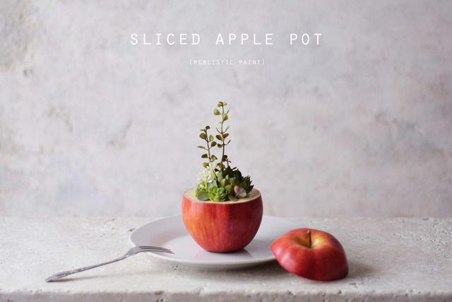 sliced apple pot (realistic paint)アーティフィシャルフラワー