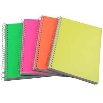 Spiral Notebook with Neon Plastic Cover, 5x7""