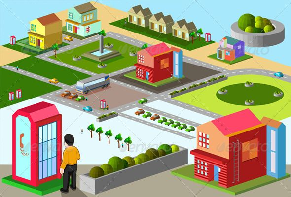Set of Simple Building and Map Isometric Series