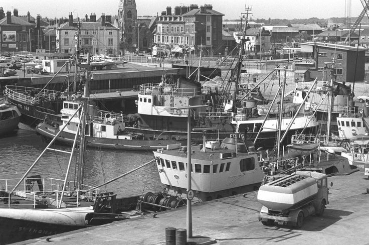 Fishing boats in Lowestoft harbour, June 13, 1974.