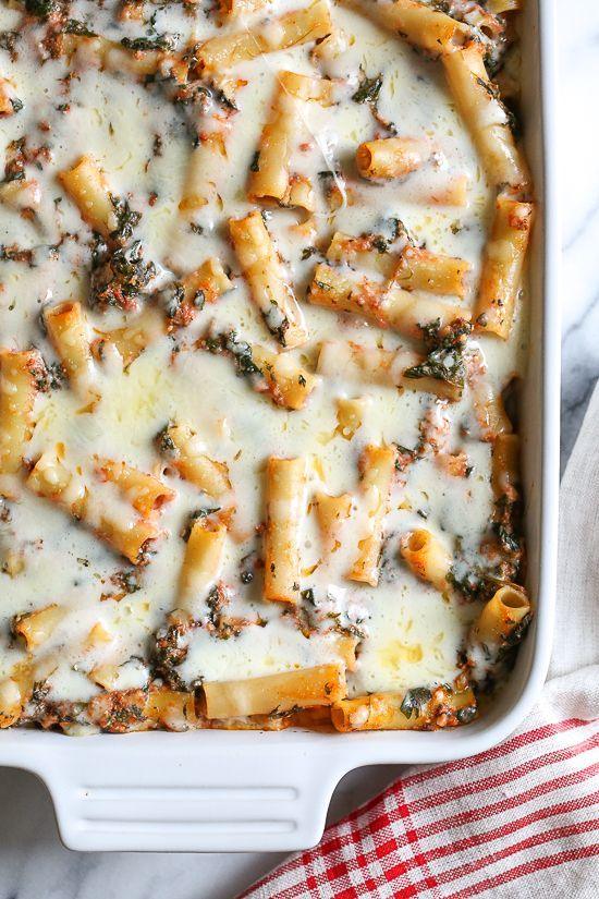 Baked ziti with Spinach | SkinnyTaste | this is a favorite comfort dish in my home! Adding spinach is a quick and easy way to get more leafy greens into your family's diet without complaints.