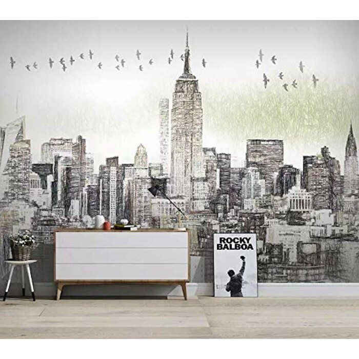 Charcoal New York City Textile Wallpaper In 2021 City Wallpaper Mural Wall Art Mural Wallpaper