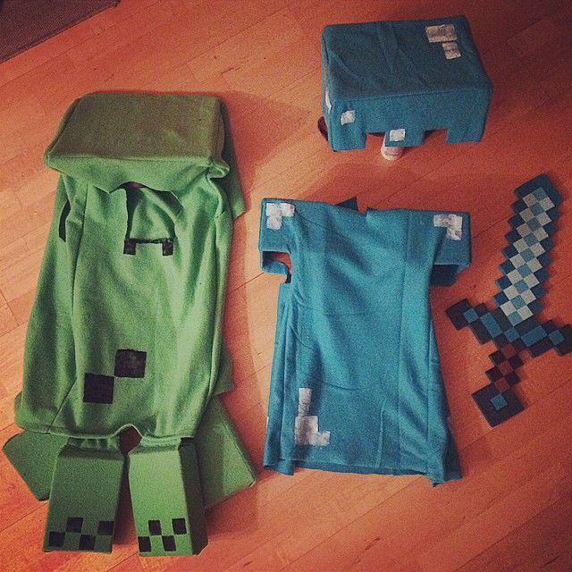Minecraft costume, Creeper and Diamond Armor Steve                              …