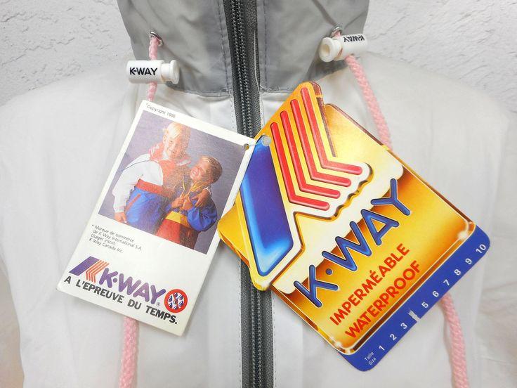 Vintage 1980s K-Way Kway Jacket Windbreaker, Size 3 Girls 10-12 years old, Zip Up Waterproof Raincoat, Pink White Grey, New Old Stock NOS