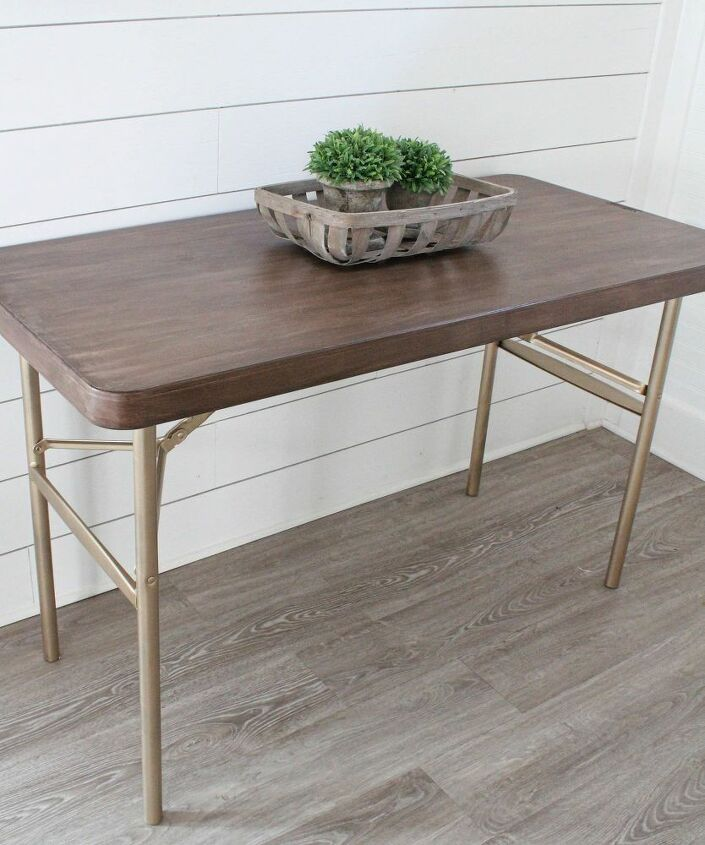 How To Makeover A Plastic Folding Table Idea Diy In 2020 Table Makeover Folding Table Diy Coffee Table