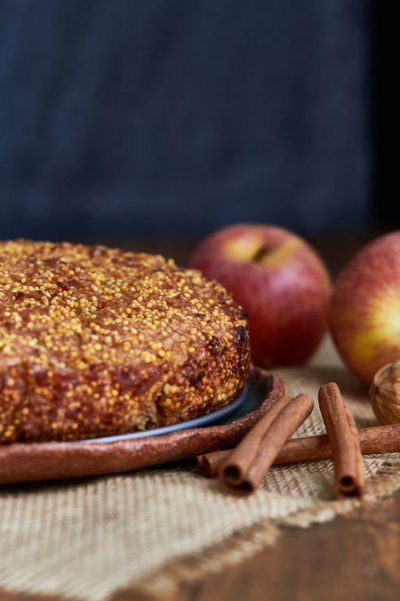 Tarta de manzana y mijo, vegana, sin gluten