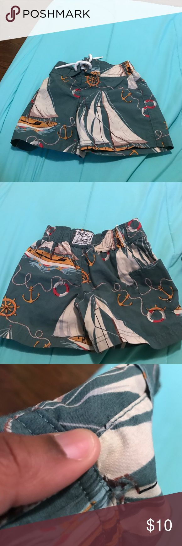 Polo Ralph Lauren swim shorts They worn one time have a little hole shown in picture you can't really see it #moving sale so I'm working out prices Polo by Ralph Lauren Swim Swim Trunks