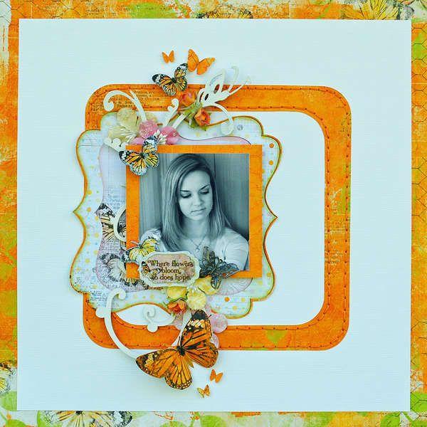 Where Flowers Bloom...My Creative Scrapbook By:Delaina Burns    Framing is really nice in orange.